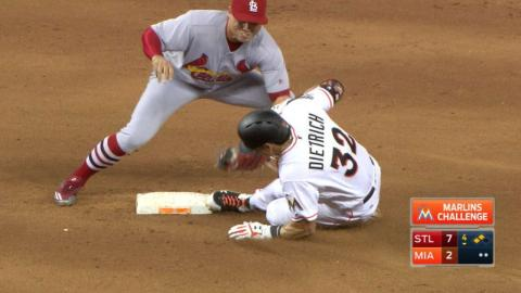 STL@MIA: Marlins challenge tag, Dietrich ruled out