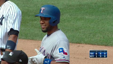 TEX@NYY: Andrus rips a RBI double into left field