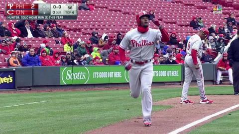 PHI@CIN: Hunter hits his first career homer to right