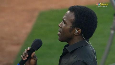 LAA@OAK: Joshua Henry sings national anthem