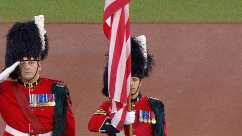 ALCS Gm3: Sgt. Grenon sings 'Star-Spangled Banner'
