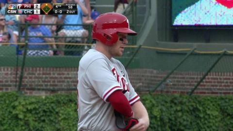 PHI@CHC: Asche hammers two-run double off the ivy