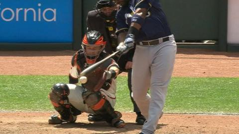 MIL@SF: Carter hits the ball twice and breaks his bat