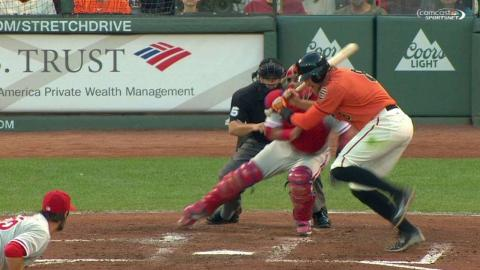 PHI@SF: Wild pitch stands after Giants challenge call