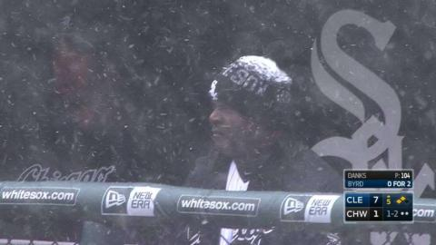 CLE@CWS: Player collecting snow on his beanie cap