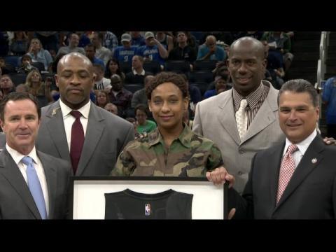 Magic Honor All-Army Basketball Veteran During Game