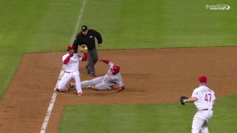 CIN@PHI: O'Sullivan throws Byrd out at third base