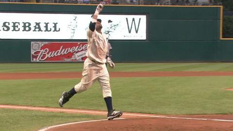 WSH@CLE: Santana blasts his first career home run