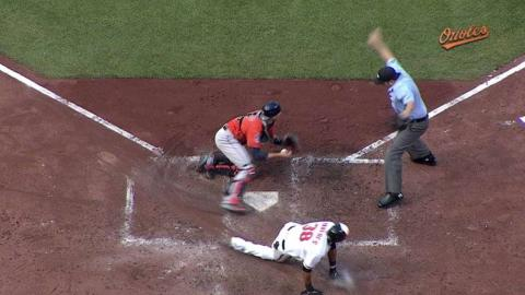 HOU@BAL: Paredes steals home as O's double steal