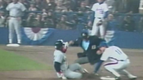 WS1986 Gm7: Mitchell throws out Rice at second