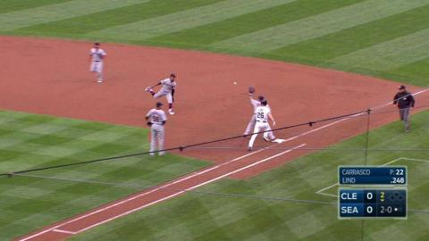 CLE@SEA: Martinez throws out Lind at first base