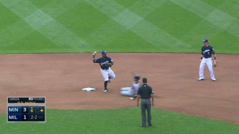 MIN@MIL: Brewers turn double play on overturned call