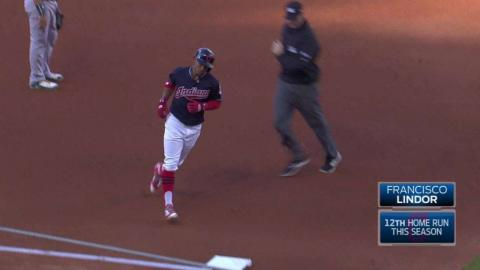 OAK@CLE: Lindor hammers a solo homer to left field