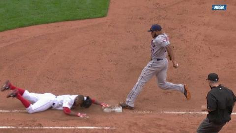 HOU@BOS: De Aza's safe call at first is confirmed