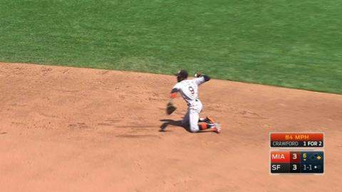MIA@SF: Gordon slides to make a tough stop in the 6th