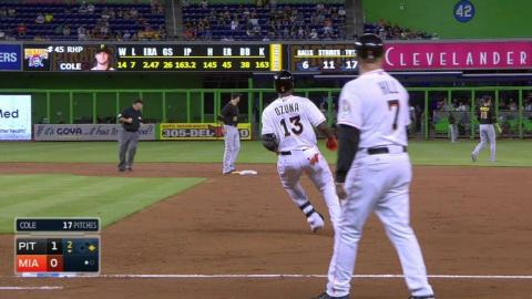 PIT@MIA: Ozuna singles to center in the 2nd