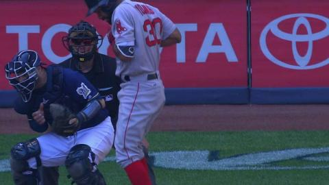 BOS@MIL: Young not hit by pitch following challenge