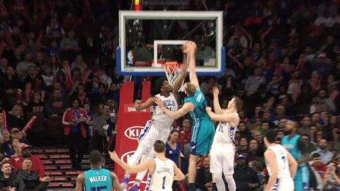 Joel Embiid Rejects TWO Cody Zeller Dunk Attempts | 01.13.17