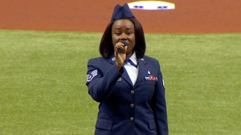NYY@TB: SSGT. Warren sings the national anthem