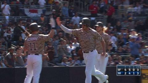 SF@SD: Myers surprised by homer, fan makes nice grab
