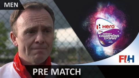 GBR v BEL Final pool match! Bobby Crutchley pre-match interview #HCT2016