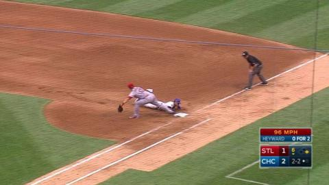 STL@CHC: Peralta catches liner, fires to first for DP