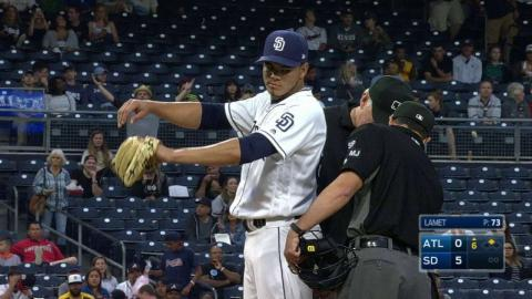 ATL@SD: Umps check Lamet for foreign substance