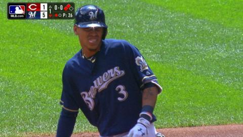 CIN@MIL: Brewers score five runs in the 1st inning