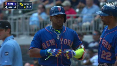 NYM@ATL: Cespedes collects first hit off DL in 8th