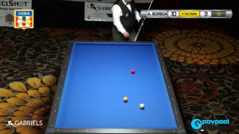 #15 • A. BARBOA vs P. FELTMAN Sr. - 2017 USBA 3-Cushion National Championship