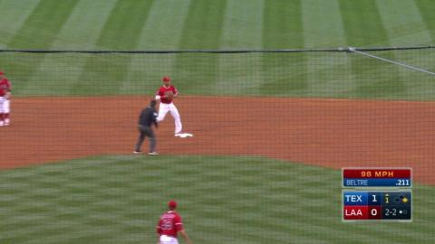 TEX@LAA: Giavotella and Simmons turn a double play