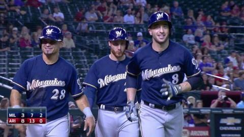 MIL@ARI: Braun belts a three-run homer to left-center