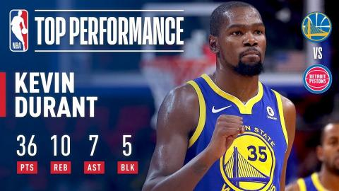 Kevin Durant Scores 36 Pts to Lead Warriors Over Pistons | December 8, 2017