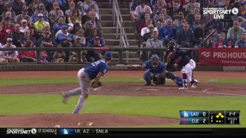 LAD@CLE: Kershaw gets out of a bases-loaded jam