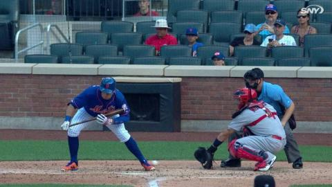STL@NYM: Challenge overturns ball as a hit-by-pitch