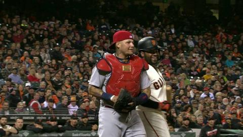 STL@SF: Cueto, Molina share laugh after bunt attempt