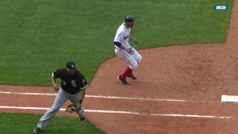 CWS@BOS: Bogaerts singles, to second on error