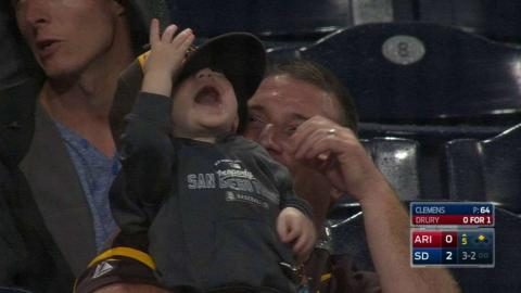 ARI@SD: Baby loves playing with his dad's Padres hat