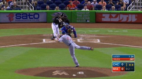 CHC@MIA: Yelich opens scoring with a sac fly