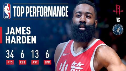 James Harden Drops Points (34) and Dimes (13) in Minnesota | February 13, 2018