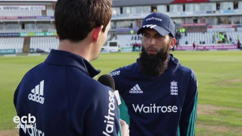 Moeen Ali chats from the middle after 155 not out