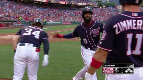 CIN@WSH: Goodwin crushes a solo homer to right field