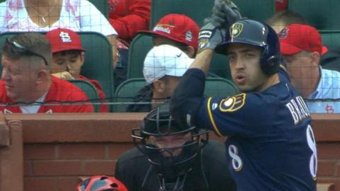Braun hits four singles against the Cardinals