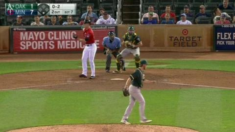 OAK@MIN: Schuster records his first career strikeout