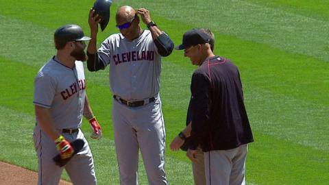 CLE@OAK: Napoli hit by a pitch in his first at-bat