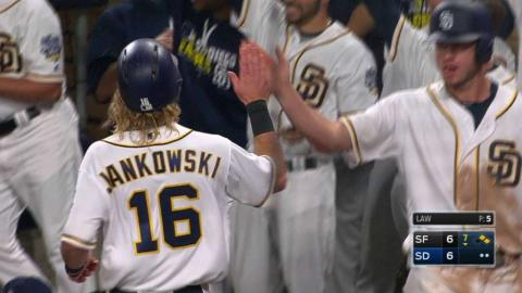 SF@SD: Margot gets first hit, RBI after foul off face