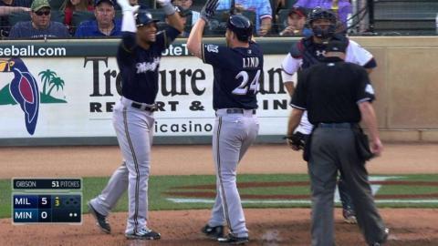 MIL@MIN: Lind hits a three-run homer to right field