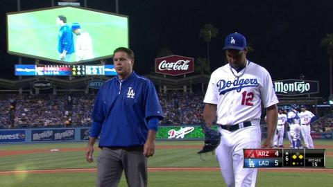 ARI@LAD: Nicasio leaves game with injury in the 6th