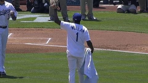 ARI@LAD: will.i.am throws out the first pitch