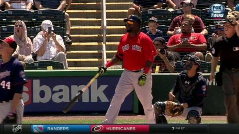 BOS@MIN: Ortiz hits first homer of Spring Training